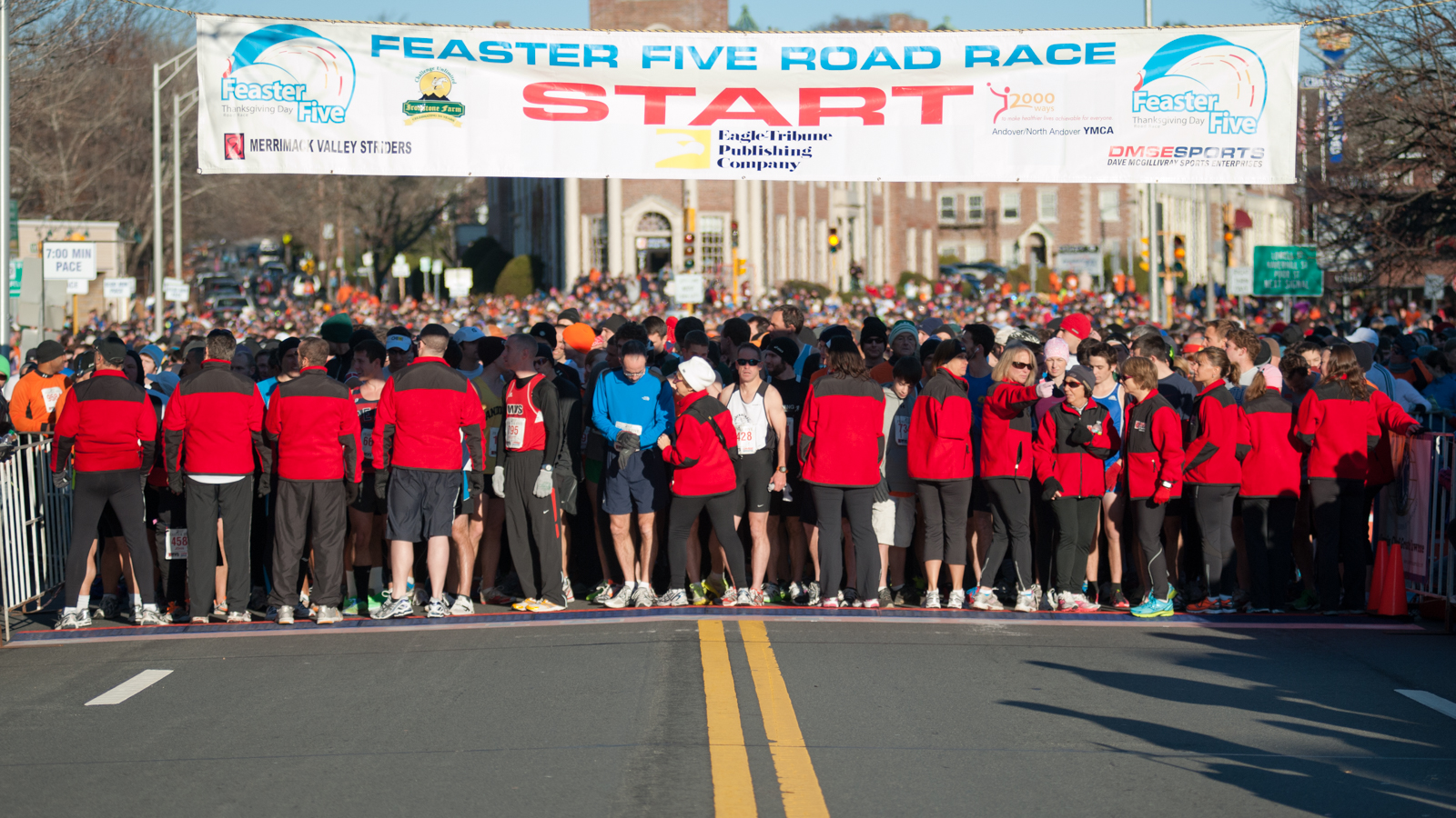 Volunteers at the start of the Feaster Five Road Race